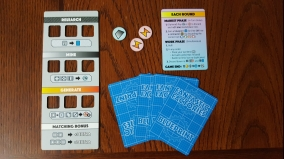 Player start with a board, 4 blueprint cards, 2 energy, and 1 metal